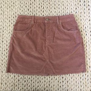TopShop Pink Velvet Mini Skirt